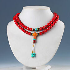 EXQUISITE CHINESE RED CORAL HAND WOVEN NECKLACES & PENDANT