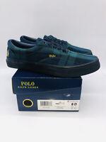 Polo Ralph Lauren Men's Thornton Shoes Black Multi Solid Tartan US 8D EUR 41