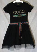 Girls Gucci Black Gold Logo Bees Mesh Tutu T-Shirt Party Dress Age 9-10 Years