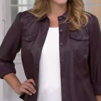 A270179 Denim & Co. Faux Leather Shirt with Seaming Detail Size Large L