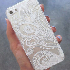Vintage Fashion Henna white Flowers Plastic case for iPhone 6s 4.7inch