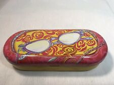 Brighton Metal Tin Sunglass Eyeglass Trinket Case Pink Yellow Purple Psychedelic