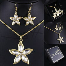 Edel-Schmuckset: Halskette+Ohrringe *Lilie* Gelbgold pl Swarovski Elements +Etui
