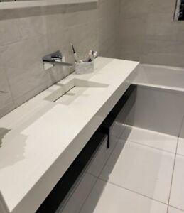 Bathroom Corian Worktop  with Integrated Large Neostone Basin