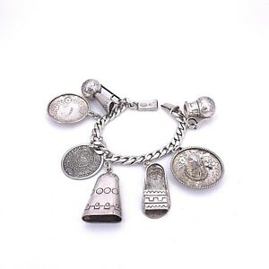 Vintage Sterling Silver Mexico Theme Charm Bracelet with 7 Charms