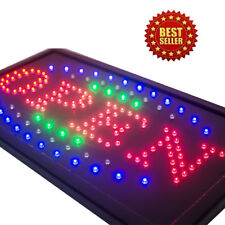 3 Color High Visible Led Neon Light Business Motion Open Sign Chain Switch Us