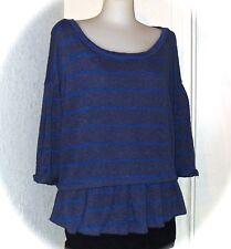 ANTHROPOLOGIE Blue Striped Knit Shirt Top Ruffle Flounce 9-HI5 STOL Large NEW