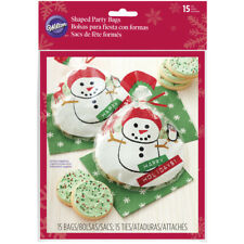 Wilton 15pc Snowman Round Shape Happy Holiday Cellophane Treat Bag with Red Ties