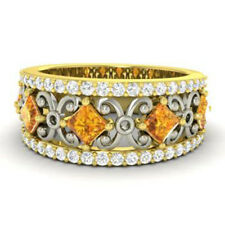 1.40 Ct Real Diamond Eternity Citrine Band 14K Solid Yellow Gold Ring Size M N O