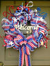 Handmade Patriotic 4th of July Summer Deco Mesh Wreath Everyday Door Decor
