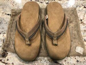 NEW Sharper Image Beige Suede Memory Foam Sandal Flip Flops - XL - UNISEX