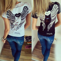 Women Angel Wings Heart Print Lace Hollow Blouse Tops T-Shirt Shirt Tank Tops