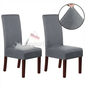 2Pcs Elastic Stretch Slipcovers Dining Room Chair Cover Seat Protector Removable