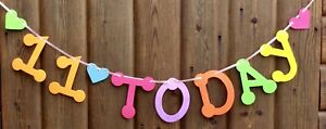 GIRLS 11th MULTI COLOUR BIRTHDAY BANNER PARTY BUNTING 11 TODAY WITH HEARTS