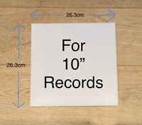 """10 x 10"""" LP 78rpm RECORD SLEEVES NO HOLE White Outer Card Album Cover Vinyl"""