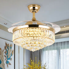 """Crystal 42"""" Chandelier Ceiling Fan Light Retractable Led Dimmable Remote Gold Us"""