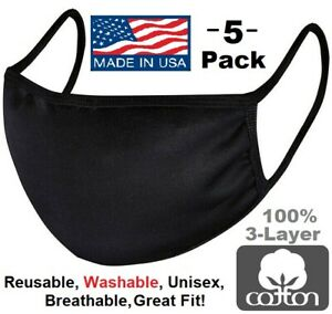 5 Pack Black Cotton Face Mask Reusable Washable Breathable Coverings Unisex USA