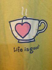 """LIFE IS GOOD Womens """"Love Tea"""" Green 100% Cotton T-Shirt XL Short Sleeve"""