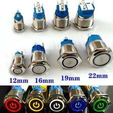 12161922mm Waterproof Metal Push Button Switch Led Light Momentary Latchings