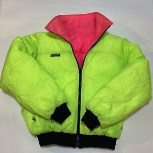 VTG Columbia Men Medium Reversible Down Neon Pink Green Ski Bomber Jacket Puffer