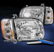FOR 2005-2006 TOYOTA TUNDRA DOUBLE CAB/SEQUOIA CHROME HEADLIGHT+BLUE LED DRL KIT