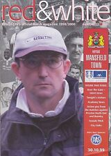 Football Programme plus Match Report>BRISTOL CITY v MANSFIELD TOWN Oct 1999