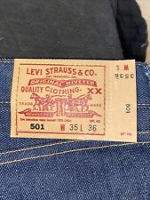 New Levis 501 Shrink to Fit Denim Jeans Size 35 x 36 501XX