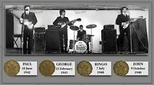 The Beatles Unique Original Birth Years Coin Metal Plaque Montage Lovely Gift