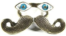 Cute Unusual Enamelled MOUSTACHE Eyes Design Statement RING UK Size J/K