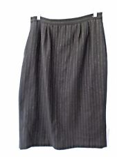 Black Pinstripe Wool Pencil Skirt Woman's size 14 Modest length Career