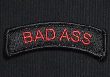 BAD ASS TAB US ARMY USA MILITARY ISAF BLACK OPS RED HOOK & LOOP MORALE PATCH