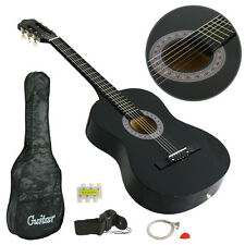 New BLACK Beginners Acoustic Guitar With Guitar Case, Strap, Tuner and Pick