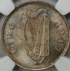 1942 Ireland One Shilling, NGC MS-65, Toned