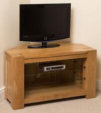 Kuba Solid Oak Wood Glass Corner TV Hi-Fi Cabinet Stand Unit Wooden Furniture