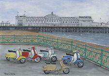 The Italian Job - Visits Brighton - Scooter, Vespa, Lambretta Print