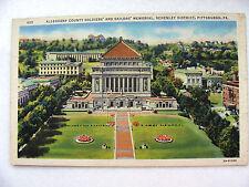 Linen Postcard Pittsburgh Allegheny Memorial Schenley C Teich New c.1935