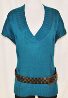 VTG 90s CHIC Blue V Neck Tank Ribbed Layering Sweater Vest Top Shirt sz XL
