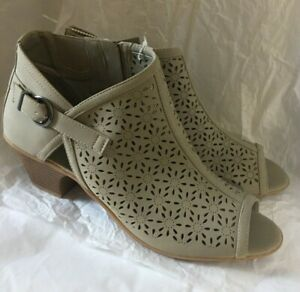Easy Street Womens Open Toe Booties Taupe Faux Leather Zipper Size Size 12M