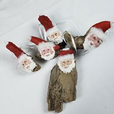 Wood Santa Christmas Ornament Handcrafted Sculpted Painted Face Tree Decorations