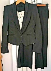 DOROTHY PERKINS Trouser Suit UK12 EU40 Navy Blue Pinstripe 2 Piece