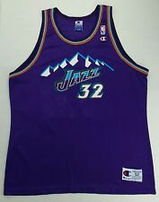 Vintage Champion NBA Utah Jazz Karl Malone Basketball Jersey Size Adult 52