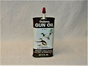 Vintage Outers Gun Oil 445A Tin Can  80% +/- full, Duck Hunting 3 Oz.