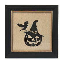 Silhouette Carved Pumpkin and Crow Framed Picture