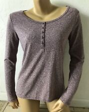 MOSSIMO SUPPLY CO Womens Size Small Speckled Henley T Tee Shirt Long Sleeve