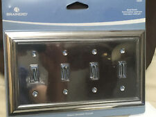 BRAINERD Polished Chrome 4 Gang Toggle Quad Light Switch Wallplate Cover 126305