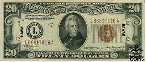 1934 A USA $20 Hawaii WWII Emergence Issue Brown Seal San Francisco, CA Banknote