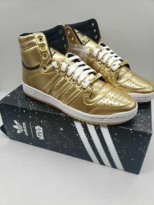 Adidas Top Ten Hi Star Wars C-3PO Men's Size 10 Gold Metallic New in Box FY2458