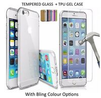TRANSPARENT ÉTUI GEL TPU + VERRE TREMPÉ PROTECTEUR POUR APPLE IPHONE 7 5 6 6S 6+