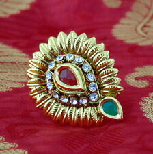 Indian Ethnic  Adjustable Ring Gold Plated Tradititional Ruby Ethnic Jewelry