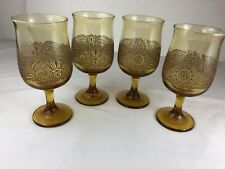 Gold Wine Glasses With Raised Design On Outside Unique